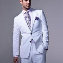 Summer Casual Linen Men Suits Tuxedos Notched Lapel White Wedding