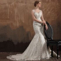 Sweep Brush Train Wedding Dress