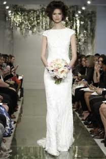 Theia Spring 2016 Column Wedding Dress With A Bateau Neck