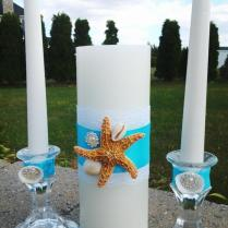 Turquoise Blue Unity Candle Beach Wedding Natural Sea Shell