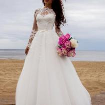 Vintage Princess Wedding Dress With Long Lace Sleeves
