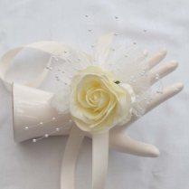 Vintage Style Wedding Wrist Corsage Ivory Rose