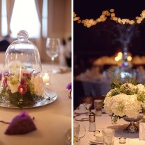 Wedding Centerpiece At Reception In Glass Dome And Flowers With