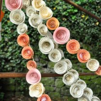 Wedding Garland Paper Flowers Orange Ivory Peach By Lillesyster