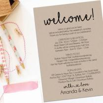 Welcome Letter, Wedding Itinerary, Printable Welcome Letter