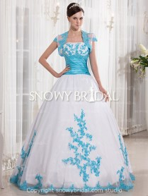 White And Blue Wedding Dresses,sky Blue And White Bridal Gown