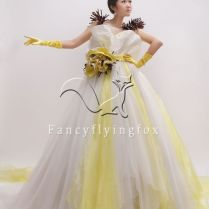 White And Yellow Wedding Dress