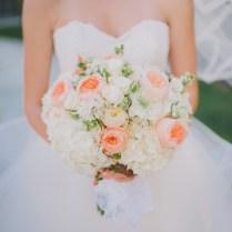 White Hydrangea And Rose Bridal Bouquet Peach