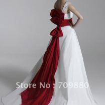 White Wedding Dress With Red Bow