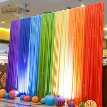 Wholesale 3x3m Rainbow Color Silk Wedding Backdrops For Wedding