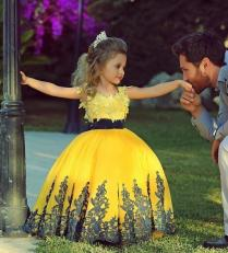 Yellow And Black Girl's Pageant Dresses 2015 Jewel Lace Black