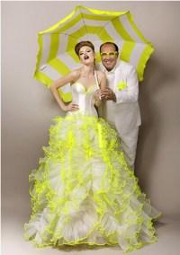 Yellow And White Wedding Dress