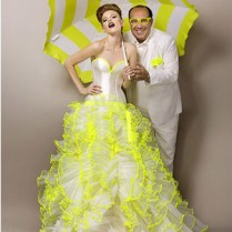 Yellow And White Wedding Dress