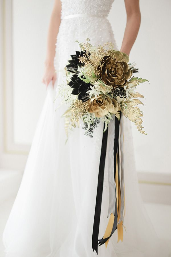Black And Gold Wedding Bouquets