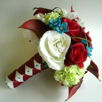 13 Piece Wedding Flower Package In Deep Red, Burgundy, Turquoise