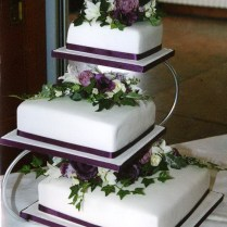 15 Black And Purple Tiered Wedding Cakes Photo