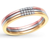 3 Piece Tri Color White Rose And Yellow Wedding Ring Band For