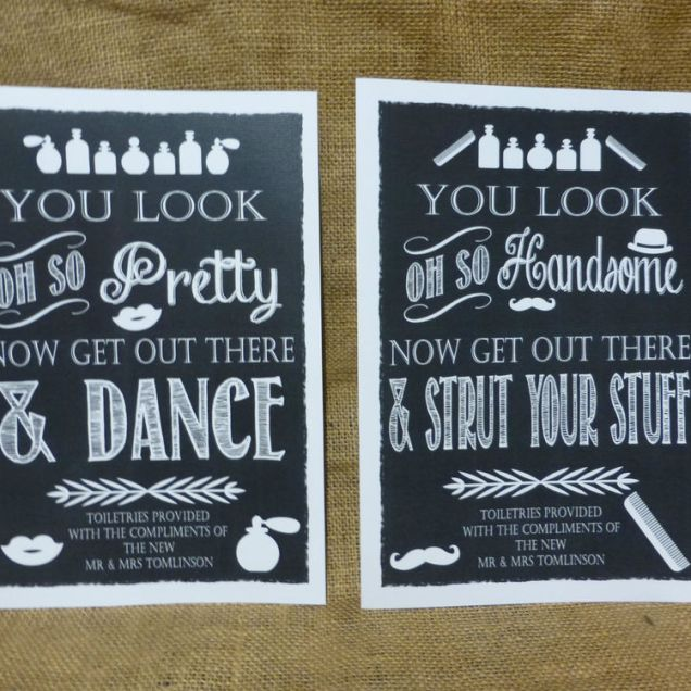 A4 Vintage Chalkboard Style Toiletry Signs Guests Wedding Comfort