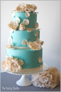A Tiffany Blue Wedding Cake With Elegant Sugar