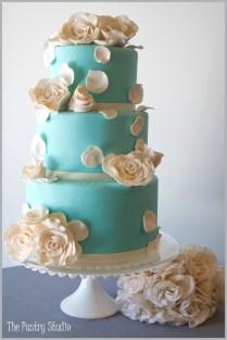 A Tiffany Blue Wedding Cake With Elegant Sugar