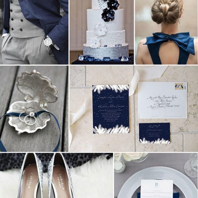 Addorable Navy Blue Snow Winter Wedding Invitation Ewi367 As Low