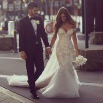 Aliexpress Com Buy Pearl Beaded Lace Mermaid Wedding Dresses