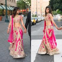 Amazing Indian Pink Two Pieces Wedding Dresses 2016 Graceful Gold