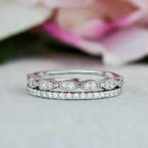 Art Deco Wedding Band And Half Eternity Band, Thin Stacking Ring