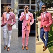 Best Custom Made Fashion Wedding Tuxedos Pink One Button Groom