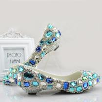 Blue Rhinestones Wedding Shoes For Bride Bridal Pumps 2 5cm 6cm