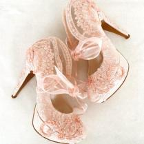 Blush Embroidered Lace Bridal Shoes With Ribbons,5 Heels