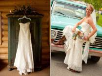 Bride Wears Ivory Lace Wedding Dress, Classic Bridal Updo And