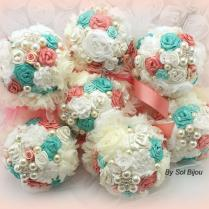 Bridesmaids Bouquets, Turquoise, Aqua, Blue, Coral, Ivory, Brooch