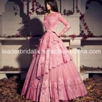 China One Sleeves Pink Wedding Dress Abraic Alencon Lace Bridal