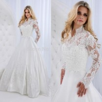 Compare Prices On Plus Size Long Sleeve High Neck Wedding Dress