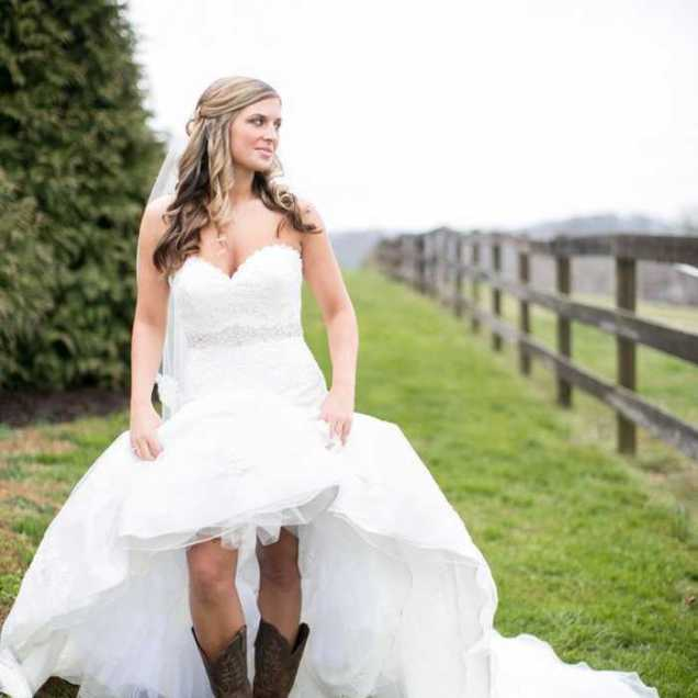 Country Wedding Dress With Cowgirl Boots