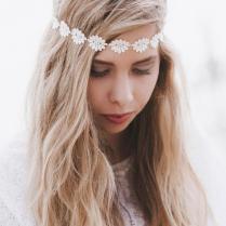 Cream Daisy Headband, Daisy Headband, Daisy Trim Elastic Headband