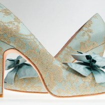 Creative Tiffany Blue Wedding Shoes Uses Silk Material Combined