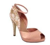 Crystal Embellished Platform Bridal Shoes In Gold, Black And Peach
