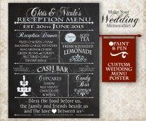 Custom Wedding Reception Menu Board Wedding By Paintandpen On Etsy