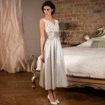 Elegant Tea Length Silver Lace Satin Bridesmaid Dresses For