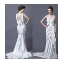 Ellie Saab Elegenat V Neck Wedding Dress With Beads And Pleats