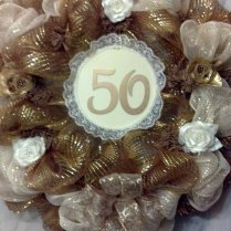 Gold For 50th Wedding Anniversary Mesh Wreath, 50th Golden Wedding