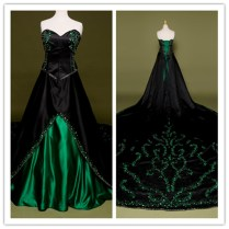 Green And Black Wedding Dresses