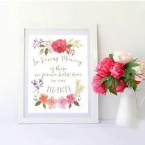 In Loving Memory Sign Fleur