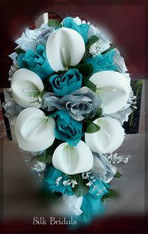 Items Similar To Bridal Bouquet Silk Wedding Flowers Teal Jade