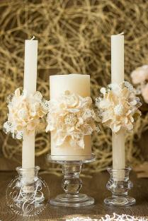 Ivory Wedding Unity Candles, Handmade Flower, Rustic Wedding Ideas