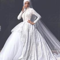 Long Sleeve Muslim Wedding Dress 2016 Lace Robe De Mariage Islamic