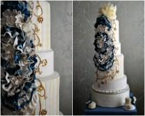 Nautical Wedding Theme Real Wedding Ideas Navy Gold Wedding Cake