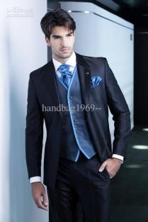 New Design Dark Blue Groom Tuxedos Groomsmen Best Man Suit Men